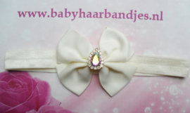 Smalle ecru baby haarband met  strik en stras.
