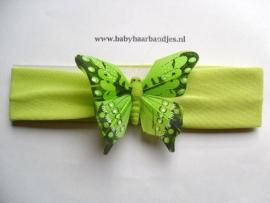Groene baby haarband met veren vlinder.