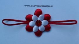 Voor de allerkleinste super smalle rode baby haarband met bloem.