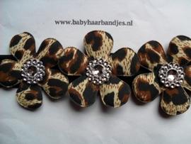 Smalle zwarte baby haarband met 3 print bloemen.