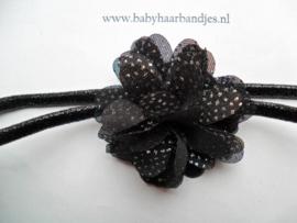 Super smal zwart glitter baby haarbandje met stippel toefje.