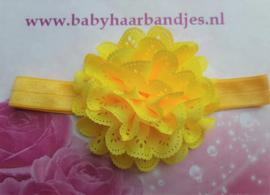 Smalle gele baby haarband met gele kanten bloem.