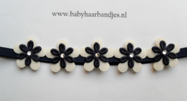 Super smal donker blauw baby haarbandje met mini bloemetjes.