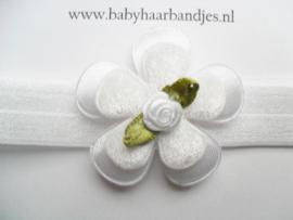 Voor de allerkleinste wit haarbandje met bloemetjes.