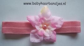 Voor de allerkleinste roze haarbandje met bloemetje.