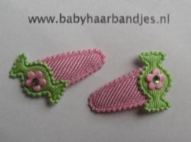 2 cm baby klikklak speldje met roze/groen snoepje.