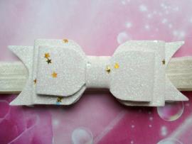 Smalle ecru baby haarband met glitter strikje.