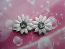 Lok speldje wit /zilveren bloemetjes.