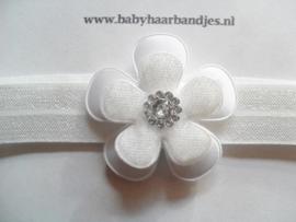 Voor de allerkleinste wit baby haarband bloemetje.