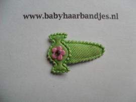 2 cm baby klikklak speldjes groen met snoepje.