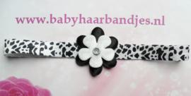 Smalle zwart/witte baby haarband met bloem.