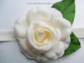 Smalle ecru baby haarband met roos.