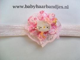 Voor de allerkleinste roze baby haarbandje met bloem en kitty.