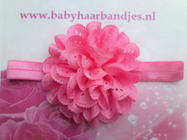 Smalle zuurstok roze babyhaarband met kanten bloem.