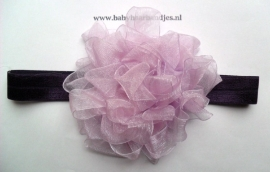 Smalle paarse baby haarband met fantasie bloem.