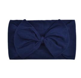 Super zachte donker blauwe baby haarband met strik .
