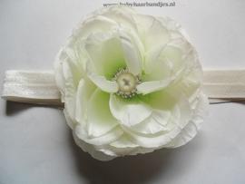 Smalle ecru baby haarband met grote roos en parel/stras.
