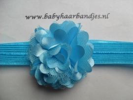 Voor de allerkleinste aqua blauw haarbandje met toefje.