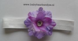 Voor de allerkleinste wit haarbandje met paarse bloem.