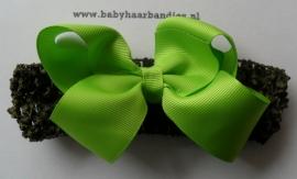 Gehaakte legergroene haarband met groene boutique bow.