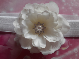 Smalle witte baby haarband met bloemen stras.