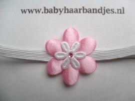Voor de allerkleinste super smal haarbandje met wit/roze bloemetje.