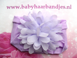 Brede paarse nylon baby haarband met chiffon toef.