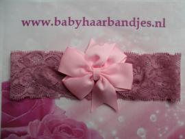Kanten oud-roze baby haarband met strik .