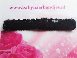 Zwarte pailletten baby haarband.