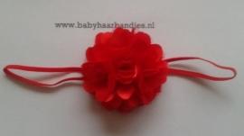 Voor de allerkleinste super smalle rode baby haarband met rozet.