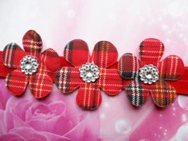 Smalle rode baby haarband met burberry bloemen.