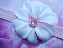 Smalle roze baby haarband met bloem en steen.