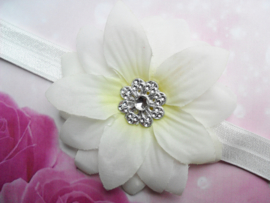 Smalle ecru baby haarband met bloem.