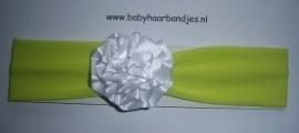Groene babyhaarband met wit rozet.