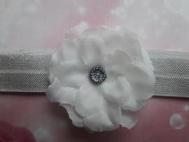 Voor de allerkleinste licht grijs haarbandje met witte bloem.