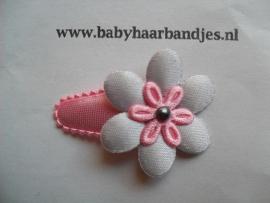 3 cm baby haar knipje grijs/roze bloemetje.