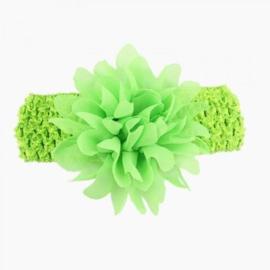Gehaakte gras groene haarband met chiffon toef.
