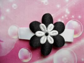 Lok speldje zwart/wit bloemetje.