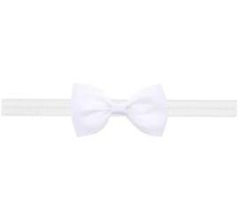 Smal wit baby haarbandje met klein strikje (7cm).