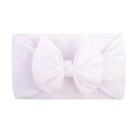 Super zachte witte nylon baby haarband met strikje.