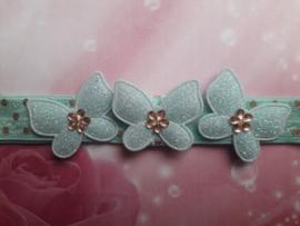 Smalle groen met gouden stippel baby haarband met vlinders.