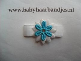 Lok speldje wit/blauw bloemetje.