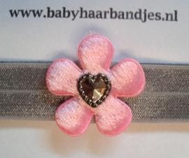 Voor de allerkleinste grijs haarbandje met roze bont bloem en hartje.