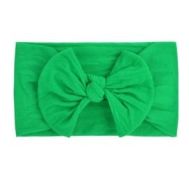 Super zachte nylon groene babyhaarband met strikje