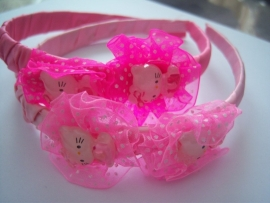 Brede diadeem hello kitty donker roze.