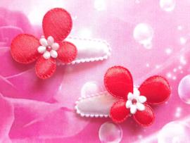3 cm haarknipje wit met rode vlindertjes.