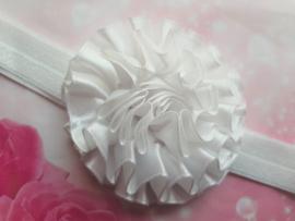 Smalle witte glitter baby haarband met toef.
