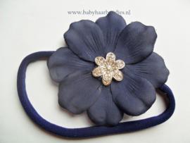 Voor de allerkleinste nylon donkerblauw haarbandje met bloem.