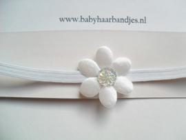 Super smal wit haarbandje met wit bloemetje (3cm).