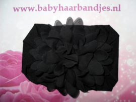 Brede zwarte nylon baby haarband met chiffon toef.